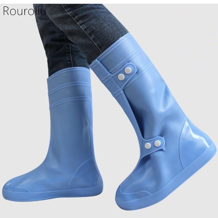 Rouroliu hommes femmes imperméable réutilisable chaussures couvre antidérapant plate-forme bottes de pluie couverture unisexe extérieur épaissir couvre-chaussures FR53