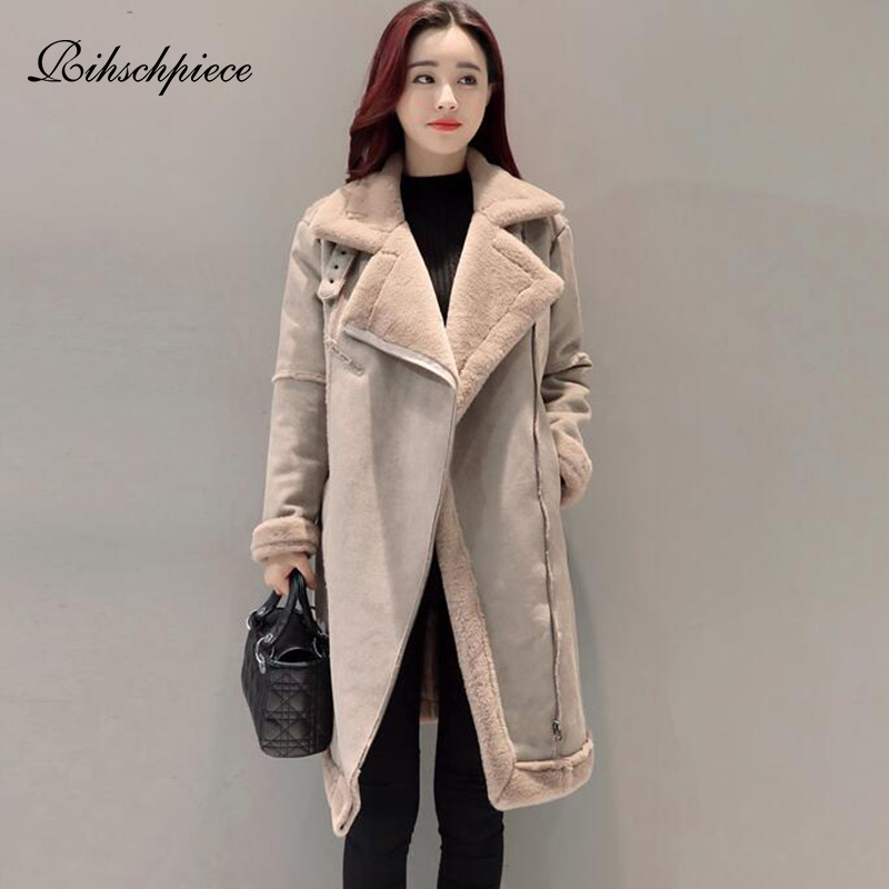 Rihschpiece Winter Velvet Suede Jacket Women Long   Parka   Thick Fur Coat Warm Casual Outwear Vintage Pocket Clothes RZF1524