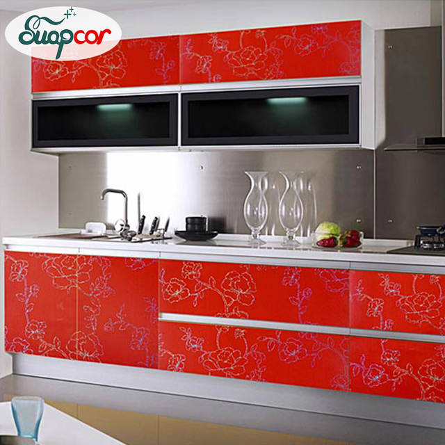 Waterproof Peony Pattern Furniture Refurbished Stickers Wardrobe TV Cabinet  Self Adhesive Wallpaper Roll For Kitchen