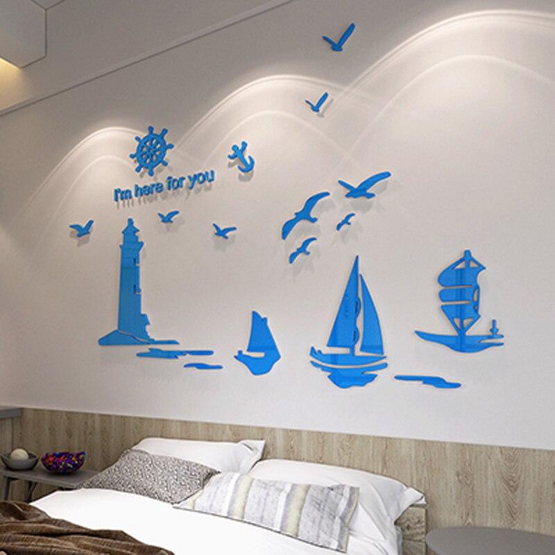 Blu Faro Barca A Vela Uccelli Marini Disegno Acrilico Autoadesivo ...