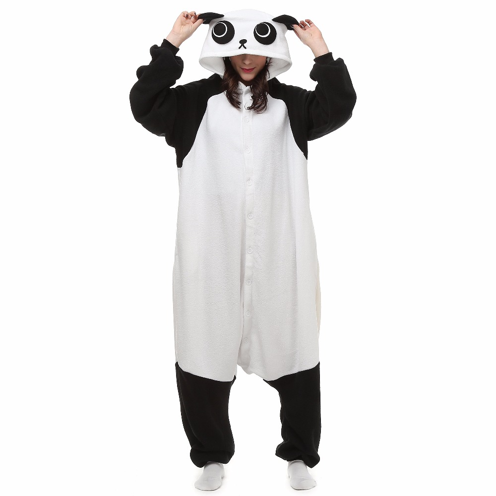 Christmas Halloween Birthday Gift Panda Fleece Onesie Homewear Hoodie Pajamas Sleepwear Robe For Adults