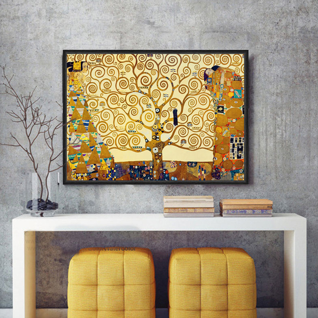 851fc806053 Gustav Klimt The Kiss life Tree Canvas art wall home decor pictures for  living room posters and prints Portrait Golden painting