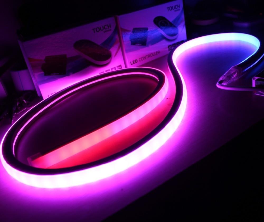 10m Topview chasing led neon lights square 17x17mm DMX rgb pixel neon flexible strip 5050 smd ribbon rope flat emitting ip67