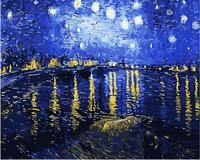 DIY Frameless Oil Painting By Numbers Under The Stars Rhone River Pictures Canvas Painting For Living