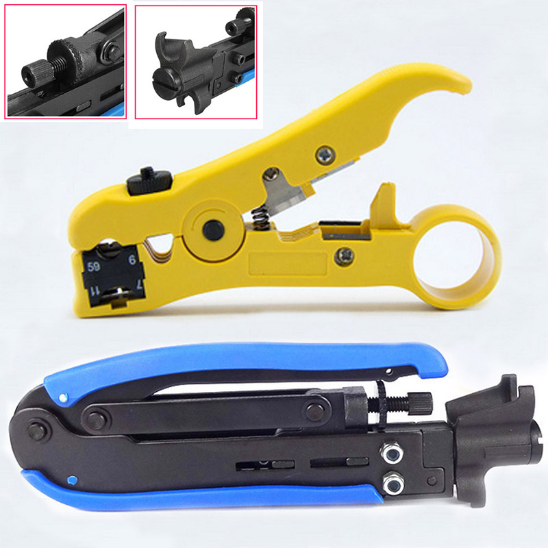 2pcs Automatic Coaxial Crimper Stripper Adjustable RG59 RG6 RG11 Connector Cable Compression Tool For Network  цены
