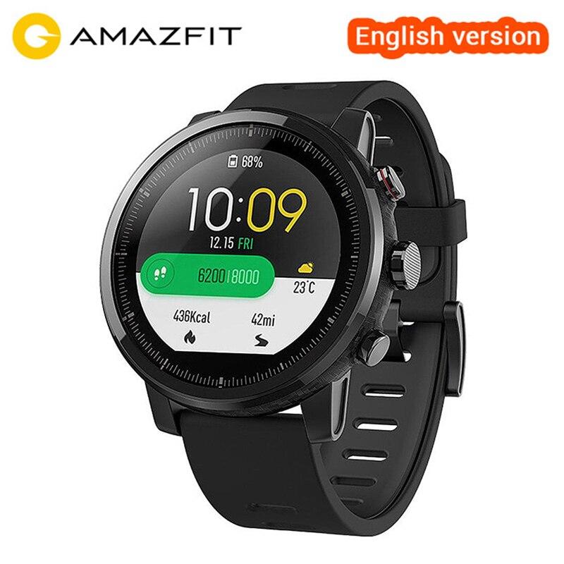 Оригинальный Xiaomi Huami Amazfit Stratos смарт-спортивные часы 2 Английская версия Smartwatch 5ATM Водонепроницаемый gps ГЛОНАСС наручные часы