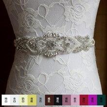 1Pcs Gorgeous Iron On Rhinestone Applique Vintage Style Motif Crystal Beaded Wedding Headwear Headband Bridal Belt ML09