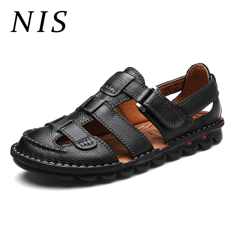 NIS Fishermen Sandals Men Shoes Genuine Leather Hand Stitching Soft Sole Summer Beach Sandals Casual Shoes Hook Loop Flats New nis breathable mesh flat men shoes casual summer slip on shoes men patchwork stitching loafers sewing soft sole pu leather flats