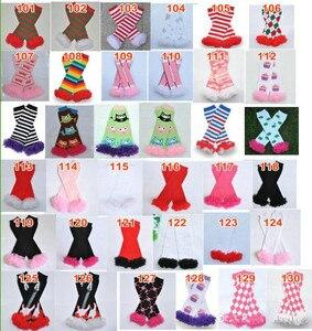 Image 4 - 200 estilos bebê babados aquecedores de perna infantil natal feriado do dia das bruxas chiffon plissado leggings quentes joelheiras