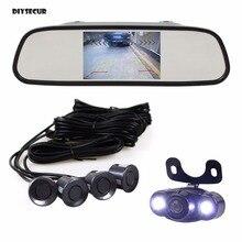 DIYSECUR 5 Inch Rear View Car Mirror Monitor + Video Parking Radar + LED Rear View Car Camera Parking Assistance System