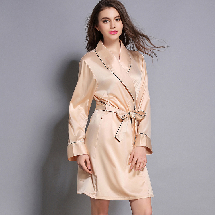 Autumn Robe Women Solid Kimono Bathrobe Gown Long Sleeve Sleepwear Satin Nightwear Soft Casual Home Clothes M-XL