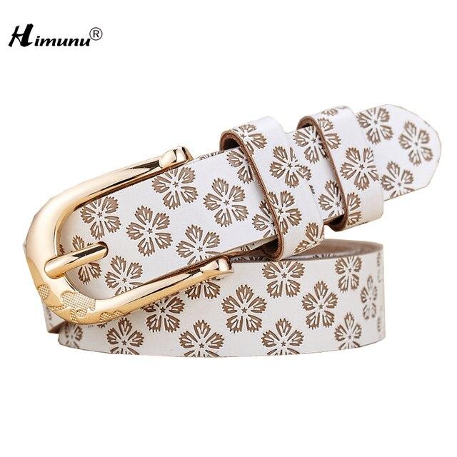 [HIMUNU] 2015 Cintos Femininos Moda 100% Cuero Genuino de Las Mujeres Cinturones de Metal Hebilla de Cinturones De Cuero Para Las Mujeres