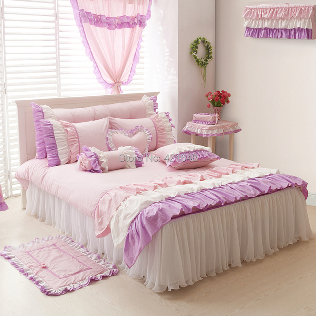 Free shipping via UPS cotton Korean lace princess bedding set 3/4pcs twin full queen king size ruffle pink blue red bed skirt