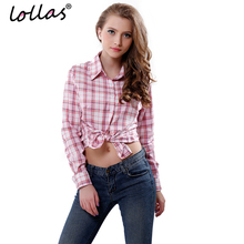 9807291cf1f lollas Brand New Fashion Women Blouses Long Sleeve Turn-down Collar Plaid  Shirts Women Casual
