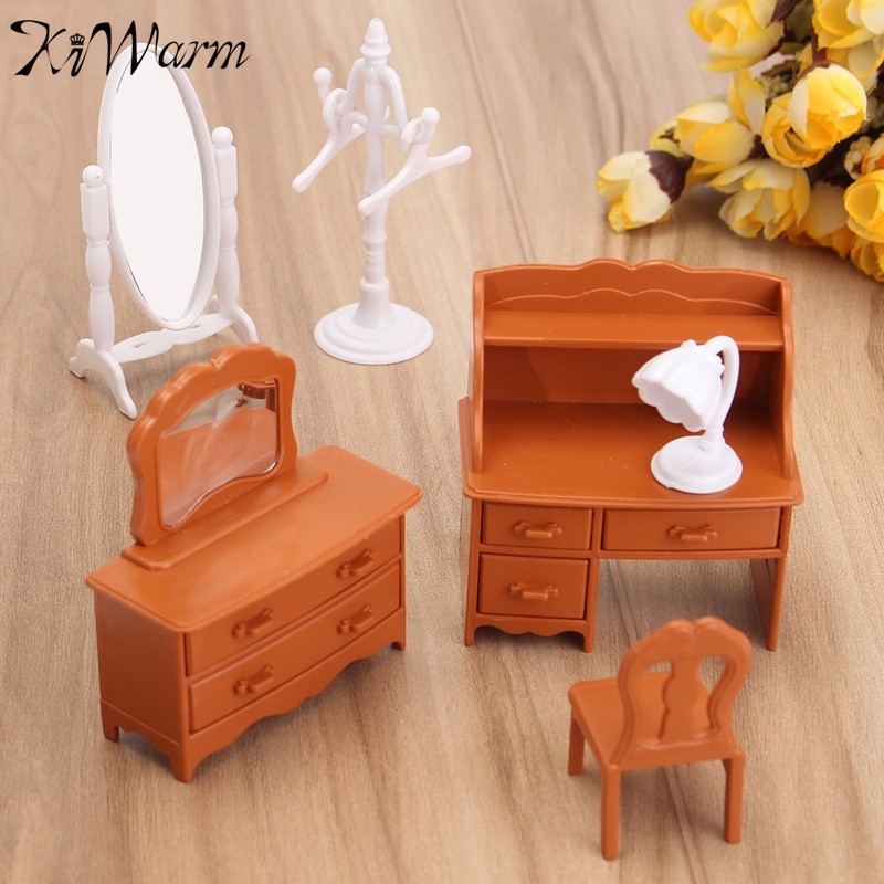 Vintage Miniature Bedroom Furniture Set Dresser Desk Mirror Furniture Ornaments Figurines Toys for Kids Christmas Gift Craft