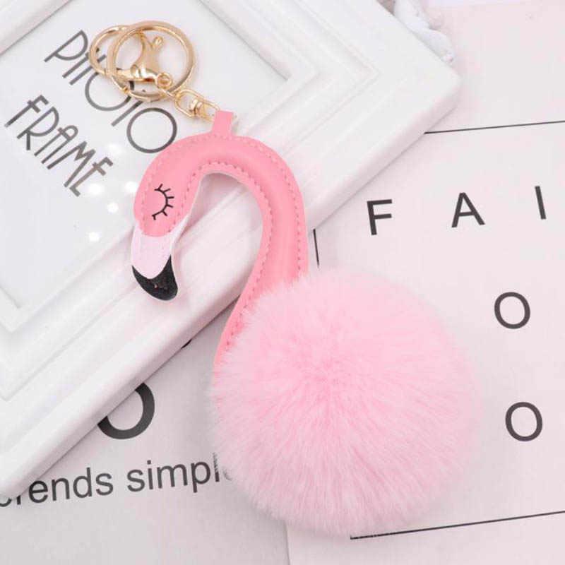 Flamingo Chaveiro Para Mulher bonito Pompom Saco Carro Chaveiro Bola de Pêlo de Coelho Fofo Cisne Chaveiro Bugigangas Jóias Pingentes Presente