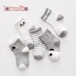 Хлопковые носки для младенцев Lawadka, 5 пар в комплекте, милые полосатые носочки для новорожденных мальчиков и девочек, размеры XS и S