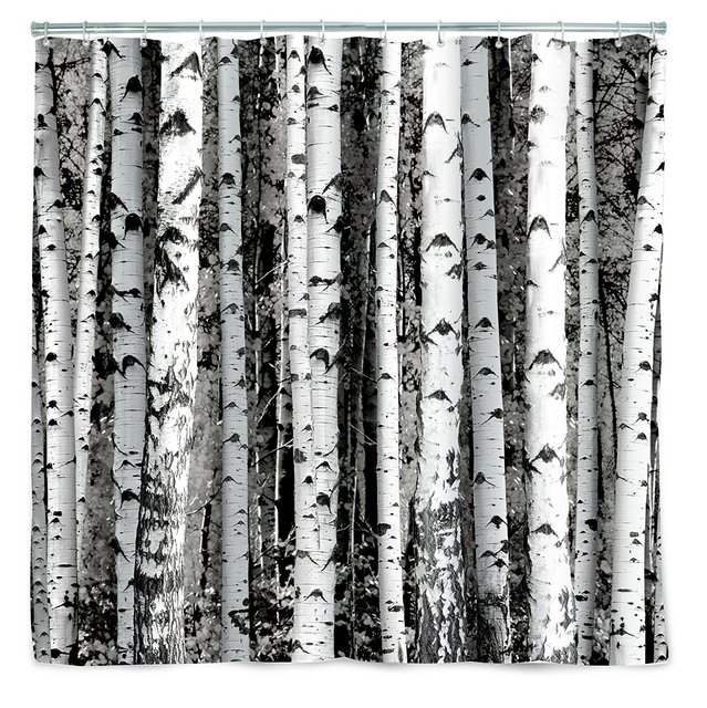 Memory Home Birch Spa Bathroom Decor Special Collection Fabric Shower Curtain Customized Waterproof Trees Curtains