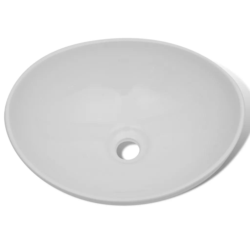 Vasque céramique luxe evier forme ovale blanc 40x33 cm salle de bain comptoir en céramique lavabo lavabo lavabo évier