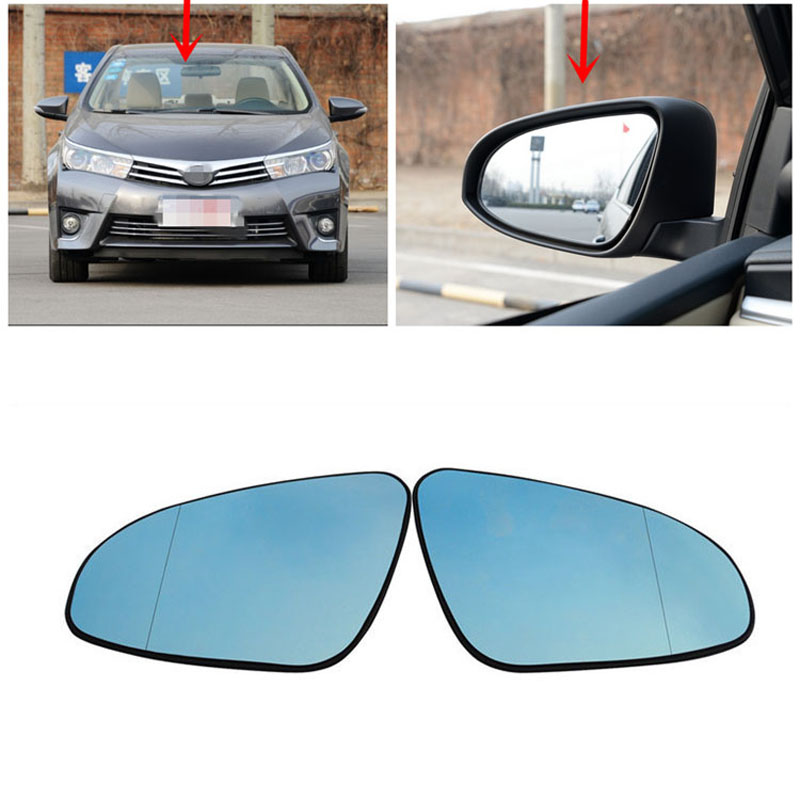 цена на Power Heated Blue Wide Angle Sight Side Rear View Mirror Glasses For Toyota Corolla 2014-2016