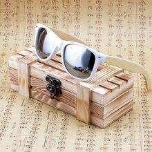 Bobo bird womens óculos de sol de madeira de bambu óculos de sol quadro branco com revestimento espelhado uv 400 lentes de proteção na caixa de madeira