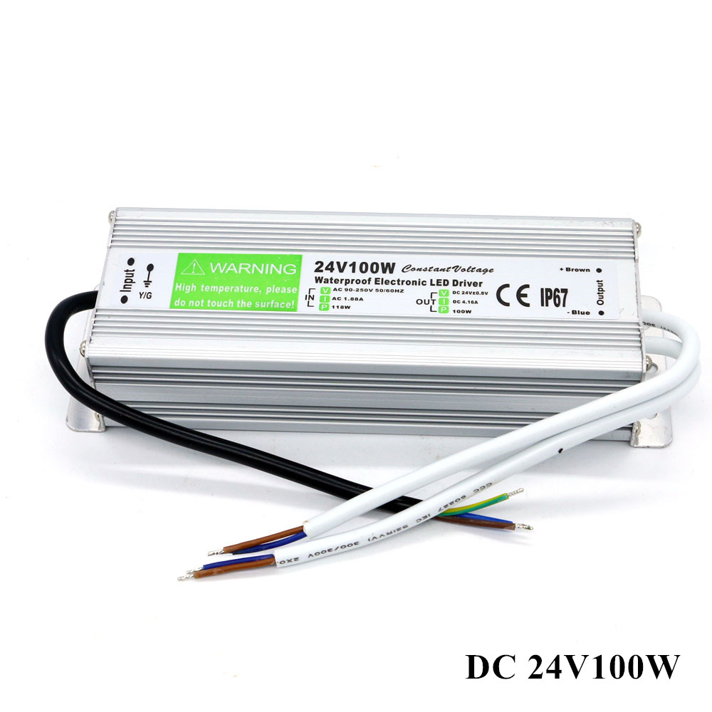 DC 24V Switching Power Supply Waterproof IP67 Led Lights Driver AC 110V 220V to DC 24V 100W 4.2A Power Supply 24v 8 5a power supply waterproof ip67 adapter ac 96v 240v transformer dc 24v 200w ac dc led driver switching power supply ce fcc