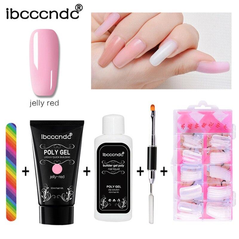 IBCCCNDC de Gel de barniz de uñas de polaco Polygel Kit rápido constructor extensión duro Gel camuflaje UV LED de laca de uñas de cepillo consejos