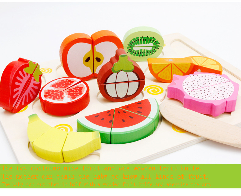 MWZ wooden kitchen toys cutting fruit toys 9 models puzzle board toy for children Educational toys Children gifts