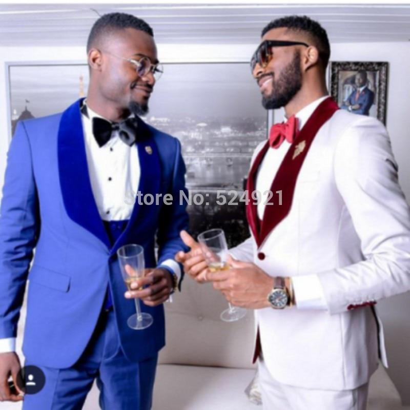 New Arrival Groomsmen Side Vent Groom Tuxedos Shawl Velvet Lapel Men Suits Wedding Best Man Blazer( Jacket+Pants+Tie+Vest ) C286
