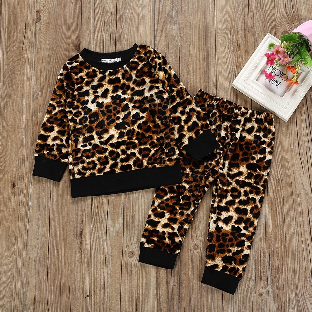 Toddler Children Child Woman Garments Style Leopard Tops Pants 2Pcs Outfits Clothes Set Sport Swimsuit Kids Tracksuit