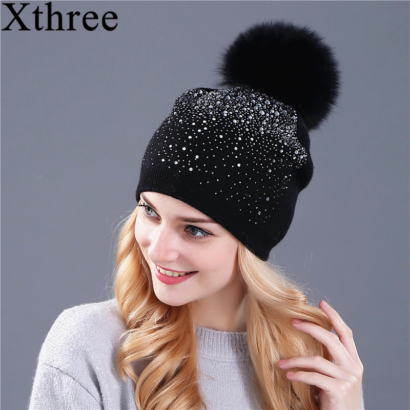 [Xthree] women winter beanie hat Rabbit fur wool knitted hat the female of the mink pom pom Shining Rhinestone hats for women women s winter beanie hat wool knitted cap shining rhinestone beanie mink fur pompom hats for women