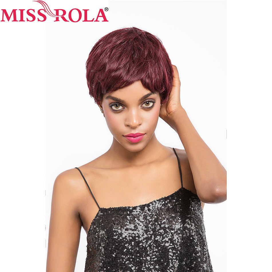 Miss Rola włosów brazylijski proste włosy peruka z naturalnych krótkich włosów # 99J cała maszyna peruka 360 pełna z włosy nie Remy