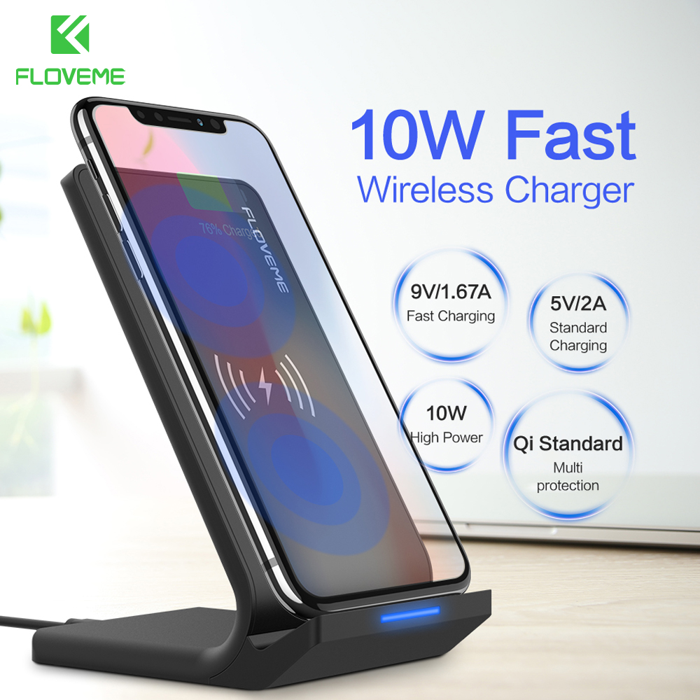 FLOVEME 10 W Caricabatterie Senza Fili Per Samsung Galaxy S9 S8 S7 Bordo Wireless Charging QI Caricabatterie Wireless Veloce Per iPhone 8 X Plus. Pad