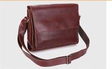 2016 Fashion men business document bag vintage  leather paper bag crazy horse leather messenger bag