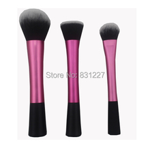 High Quality 3 pieces pink face makeup brush set powder blus