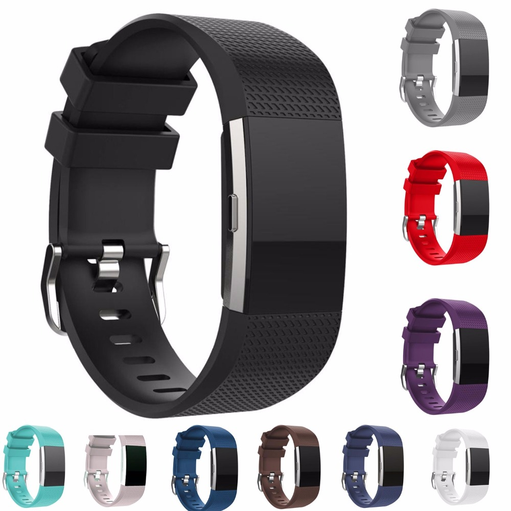 CRESTED Replacement Strap For Fitbit Charge 2 Band Bracelet Soft Silicone Watch Band Wrist Strap Charge 2 Heart Rate Smart