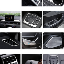 Lsrtw2017 Stainless Steel Car Central Control Gear Panel Multi-media Frame Cup Trims for Audi A4 2017 2018 2019 2020