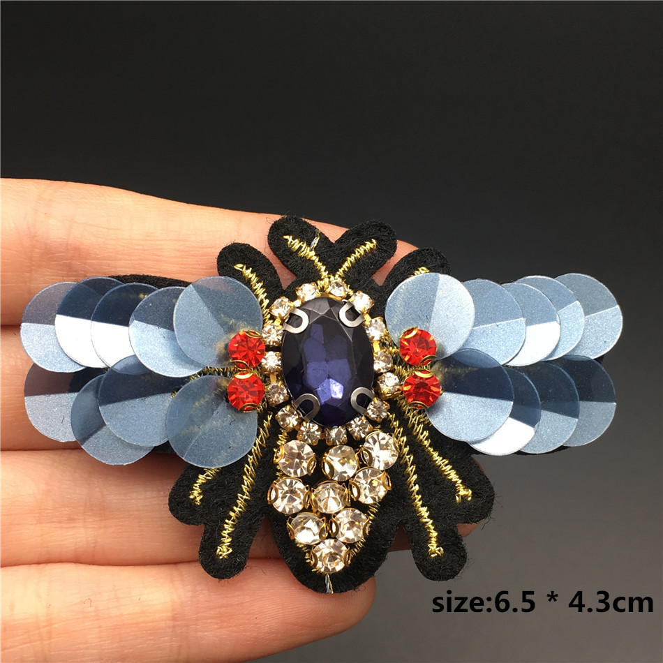 HTB1Xi CXffsK1RjSszbq6AqBXXad Handmade Rhinestone beaded&sequin Patches, BEES COOL FASHION Sew on Crystal pearl patch for clothes beaded Applique cute patch