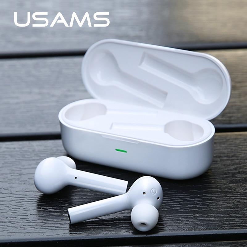 USAMS bluetooth sans fil Écouteurs 5.0 écouteurs stéréo Casque Avec Boîte De Charge Micro Pour Iphone Samsung Tous Les smartphone air gousses