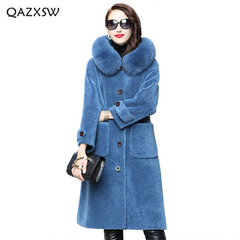 ff2875a17dc1 Automne gray Col Longue 2018 Blue Qazxsw Moutons Vêtements Manteaux  Tempérament Manteau Réel De Nouvelles Femmes Renard Fourrure Veste ...