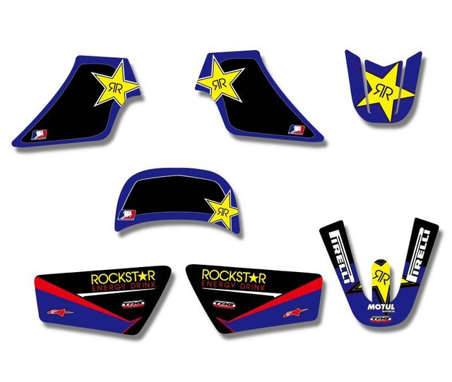Rockstar  New Style TEAM GRAPHICS&BACKGROUNDS DECAL STICKERS Kits  For Yamaha PW 50 PIT bike