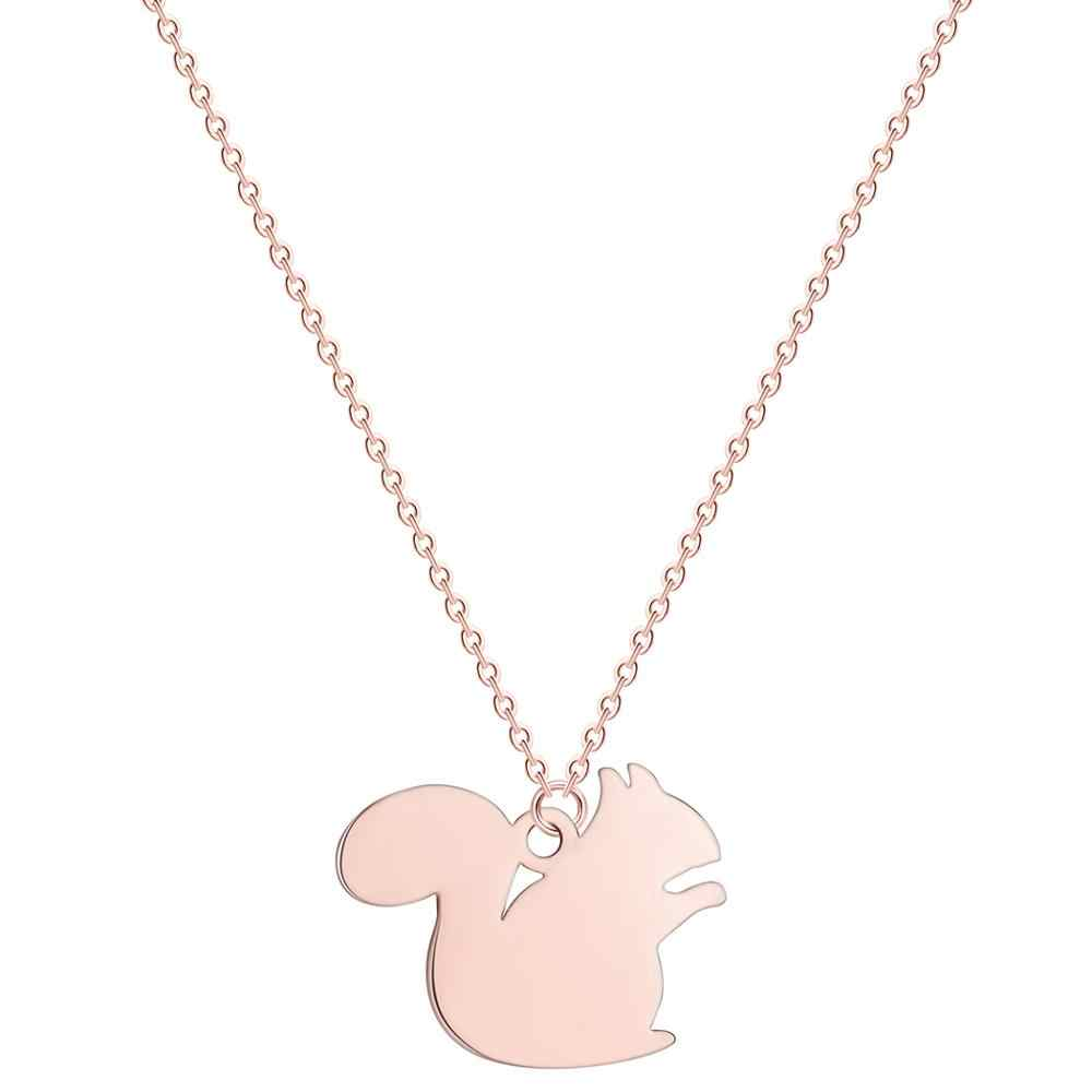 Chereda Stainless Steel Squirrel Necklaces for Women Silver Gold Tiny Chain Choker Statement Wedding Jewelry