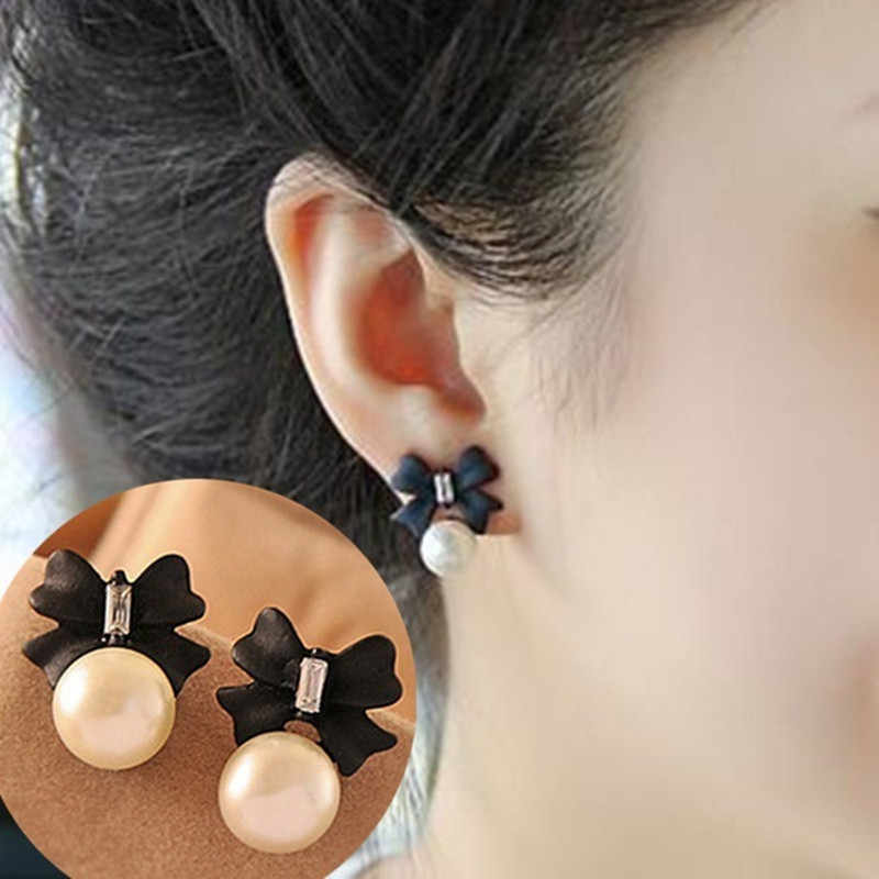 Cute Bow Stud Earring Elegant SImulated Pearl Crystal Ear Stud Women Fashion Jewelry Wholesale