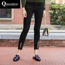 QUEENTOR 2017 Brand Denim Trousers Autumn Spring Cotton Fashion Solid Skinny Pencil Jeans Women Wholesale