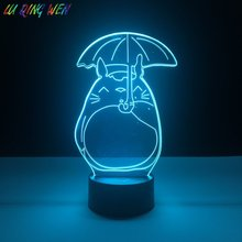 купить Pretty Kids Led Night Lamp My Neighbor Totoro Nightlight for Baby Crib Bedroom Light Child Gift Led Night Light Totoro Umbrella дешево