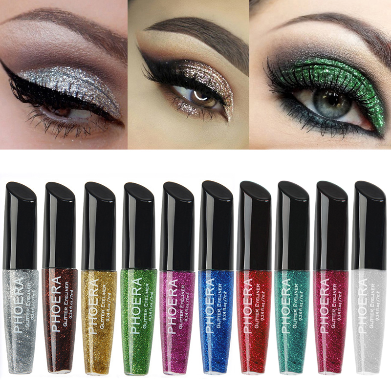 PHOERA 10 Colour Gold Highlighter Face Eye Cosmetics Shadow Makeup Glitters Contour Shimmer Liquid Highlighter Eye Liner