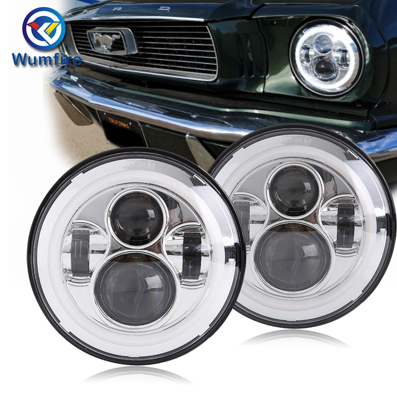 High quality chrome 7 Inch Round Led Headlight Halo Angle Eyes led headlamp for offroad lada Jeep Wrangler Unlimited JK LJ TJ demon eyes 12v 35w 7 inch cob halo hid xenon led headlight headlamp with demon eyes drl canbus ballast for jeeep wrangler 07 15