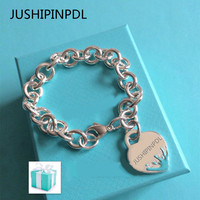 TIFF100%925 sterling silver ms 1:1 classic symbol heart shaped spray blue enamel bracelet jewelry gift of love