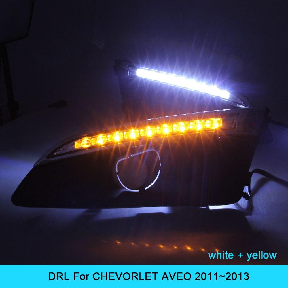 ДХО автомобильный комплект для CHEVORLET Авео 2011 2012 2013 светодиодные дневные ходовые свет бар сигнала поворота противотуманные авто лампы дневного света автомобиля Сид DRL 12В