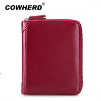 Genuine Leather Antitheft Passport Holder Men Women Credit Card Holder Rfid Blocking 40 Cards Slots Zipper